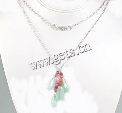 Gemstone Necklaces, with sterling silver chain & coral, Teardrop, Length:36 Inch, Sold By Strand