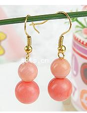 Coral Drop Earring, sterling silver earring hook, Calabash, 10x37mm, Sold By Pair
