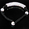 Rhinestone Woven Ball Bracelets, handmade, with Czech rhinestone, Length:Approx 6.5 Inch, Sold By Strand