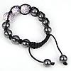 Rhinestone Woven Ball Bracelets, with Hematite, handmade, with Czech rhinestone, 12-14mm, Length:6-10 Inch, Sold By Strand