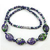 Gemstone Necklaces, Rain Flower Stone, Length:Approx 17 Inch, Sold By Strand