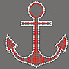 Rhinestone Hot Fix Motif, Anchor, Grade AA, 265x175mm, Sold By PC