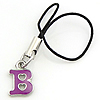 Fashion Mobile Phone Lanyard, Zinc Alloy, Letter B, enamel, 13x9x2mm, Length:3 Inch, Sold By Strand