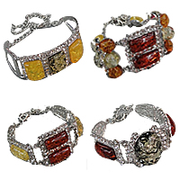 Rhinestone Imitation Amber Bracelets