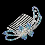 Decorative Hair Combs, Zinc Alloy, with Rhinestone, Flower, more colors for choice, nickel, lead & cadmium free, 87x51x11mm, Sold By PC