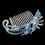 Decorative Hair Combs, Zinc Alloy, with Rhinestone, Flower, more colors for choice, nickel, lead & cadmium free, 78x55x18mm, Sold By PC