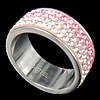 Rhinestone Stainless Steel Finger Ring, with Mideast rhinestone, Hole:Approx 17mm, Size:6.5, Sold By PC