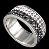Rhinestone Stainless Steel Finger Ring, with Mideast rhinestone, 8mm, Hole:Approx 16mm, Size:5.5, Sold By PC