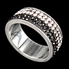 Rhinestone Stainless Steel Finger Ring, with Mideast rhinestone, Hole:Approx 18mm, Size:8, Sold By PC