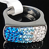 Rhinestone Stainless Steel Finger Ring, Rectangle, with Mideast rhinestone, 11x21mm, Hole:Approx 17mm, Size:6.5, Sold By PC