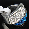 Rhinestone Stainless Steel Finger Ring, with Mideast rhinestone, Hole:Approx 17mm, Size:7, Sold By PC