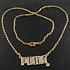 Rhinestone Brass Necklace, Iron, with Rhinestone, Letter, with rhinestone, 32.5x14x2.5mm, Length:17 Inch, Approx 13Strands/Lot, Sold By Lot