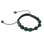 Rhinestone Woven Ball Bracelets, Resin Rhinestone, with Wax Cord & Glass, 10mm, Length:7 Inch, Sold By Strand