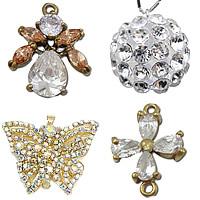 Rhinestone Brass Pendants