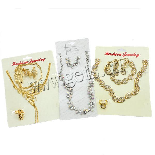 Fashion Rhinestone Jewelry Set, zinc alloy with rhinestone, necklace & bracelet & earring & finger ring set, mixed styles for choice, cheapest price for clearance, Length:7, 16 Inch, Sold by Set