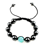 Hematite Woven Ball Bracelets, with Nylon Cord, handmade, with resin rhinestone, more colors for choice, Length:6 Inch, Sold By Strand