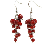Coral Drop Earring, Synthetic Coral, iron earring hook, red, 17x54mm, 12Pairs/Bag, Sold By Bag