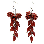 Coral Drop Earring, Synthetic Coral, iron earring hook, Flower, red, 21x61mm, 12Pairs/Bag, Sold By Bag