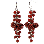 Coral Drop Earring, Synthetic Coral, iron earring hook, Flower, red, 20x59mm, 12Pairs/Bag, Sold By Bag