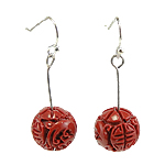 Coral Drop Earring, Synthetic Coral, iron earring hook, Round, red, 13x37mm, 12Pairs/Bag, Sold By Bag