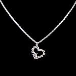 Rhinestone Brass Necklace, with iron chain, Heart, with rhinestone, 20x25x3mm, Length:15.5