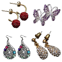 Rhinestone Metal Alloy Earring