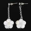 White Shell Earrings, brass post pin, Flower, Length:1.5 Inch, Sold By Pair