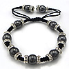 Hematite Woven Ball Bracelets, Nylon Cord, with Nylon Cord & Magnetic Hematite & Brass, handmade, 10mm, 3x8mm, Length:Approx 7-12 Inch, Sold By Strand
