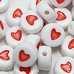 Plastic Pony Beads, Coin, enamel, white, Hole:Approx 1mm, 3600PCs/Bag, Sold By Bag