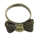 Iron Finger Ring, with Brass, Bowknot, plated, more colors for choice, 19x23.5x12mm, US Ring Size:8, Sold By PC
