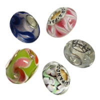 Silver Plated Core Lampwork European Beads