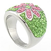 Rhinestone Stainless Steel Finger Ring, different size for choice & with flower pattern & with rhinestone, Sold By PC