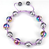 Hematite Woven Ball Bracelets, Nylon Cord, with Hematite, colorful plated, adjustable & faceted, 10mm, 8mm, Length:Approx 6-9 Inch, Sold By Strand