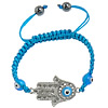 Hamsa Bracelets, Zinc Alloy, with Nylon Cord & Lampwork, Hand, enamel & with rhinestone, blue, 38x22x5mm, 8mm, Sold Per Approx 6.6-10 Inch Strand