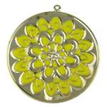 Enamel Iron Pendants, Flat Round, with flower pattern, more colors for choice, 60x65x1.3mm, Hole:Approx 1.5mm, Sold By PC