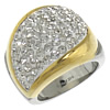 Rhinestone Stainless Steel Finger Ring, with Rhinestone Clay Pave, with rhinestone & two tone, Size:7, Sold By PC