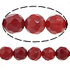 Grass Coral Beads, Round, faceted, red, Hole:Approx 1mm, Length:16 Inch, 10Strands/Lot, 48PCs/Strand, Sold By Lot