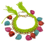 Chain Woven Bracelets, Wax, with iron chain & turquoise, iron lobster clasp, multi-colored, 14x12x10mm, Sold Per 7.5 Inch Strand