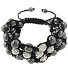 Hematite Shamballa Bracelets, with Wax Cord & Rhinestone Clay Pave Bead, handmade, Customized & 3-strand, more colors for choice, Length:Approx 7-12 Inch, Sold By Strand
