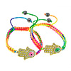 Hamsa Bracelets, Zinc Alloy, with Nylon Cord, Hand, plated, enamel & with rhinestone, more colors for choice, Length:Approx 7-12 Inch, Sold By Strand