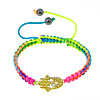 Hamsa Bracelets, Zinc Alloy, with Nylon Cord, Hand, with rhinestone, multi-colored, 8mm, 26x15x4mm, Sold Per Approx 6-11 Inch Strand