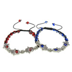 Hamsa Bracelets, Zinc Alloy, with Nylon Cord & Lampwork, more colors for choice, 15x13x4mm, 6mm, Length:Approx 7-11 Inch, Sold By Strand
