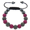 Rhinestone Shamballa Bracelets, with Wax Cord & Hematite, handmade, Customized, 10mm, 8mm, Sold Per Approx 7-11 Inch Strand