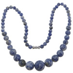 Gemstone Necklaces, Blue Spot, zinc alloy screw clasp, Round, 6-14mm, Sold Per Approx 17 Inch Strand