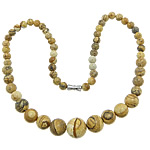 Gemstone Necklaces, Picture Jasper, zinc alloy screw clasp, Round, 6-14mm, Sold Per Approx 17 Inch Strand