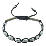 Hematite Shamballa Bracelets, with Wax Cord & Nylon Cord, platinum color plated, 8x5.5mm, Length:Approx 7-10 Inch, Sold By Strand