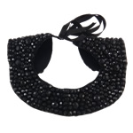 Collar Necklace, Velveteen, with Ribbon & Resin Rhinestone, with resin rhinestone, black, 260x250mm, Sold By PC