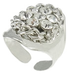 Iron Finger Ring, platinum color plated, with A grade rhinestone, nickel, lead & cadmium free, 21.5x23x27mm, Hole:Approx 20mm, US Ring Size:10, Sold By PC