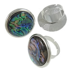 Shell Finger Ring, Zinc Alloy, with Abalone Shell, Flat Round, platinum color plated, nickel, lead & cadmium free, Hole:Approx 19mm, US Ring Size:9, 50PCs/Box, Sold By Box