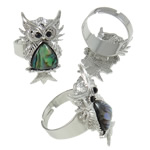 Shell Finger Ring, Zinc Alloy, Owl, platinum color plated, with rhinestone, nickel, lead & cadmium free, A Grade, 21x31x26mm, Hole:Approx 19mm, Size:9, Approx 50PCs/Box, Sold By Box